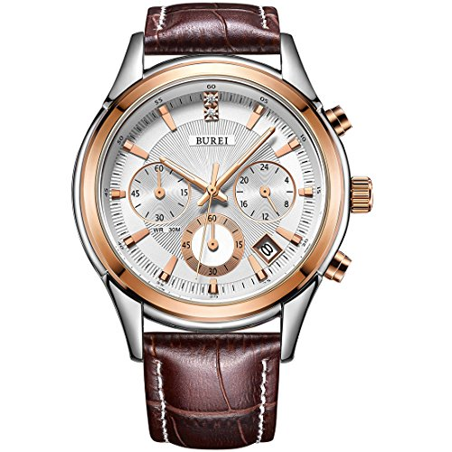 BUREI Mens Watch Business Casual Chronograph Sports Watch Rosegold Case Brown Genuine Leather Strap