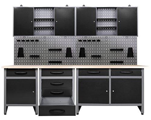 Ondis24 Werkstatteinrichtung 7 teilig grau schwarz Werkbank Werkzeugschrank Lochwand Werkstattausrüstung 240 cm