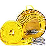 Beylos Bibetter 4Maters 5Ton High Strength Tow Strap, with Two Safety Hooks, Winch Rope for Recovery Tow (13' Long 11000 Lb)