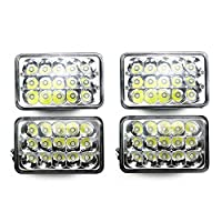Ranzek 4pcs 4x6インチ長方形LEDヘッドライト交換H4651 H4652 H4656 H4666 H6545 for Peterbilt Kenworth FreightlinerフォードプローブChevrolet Oldsmobile Cutlass