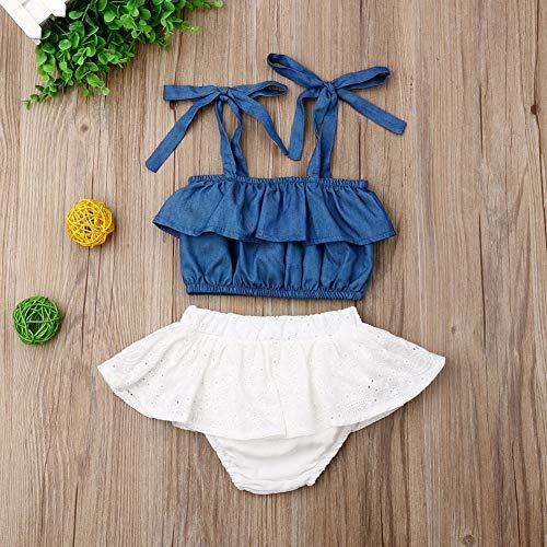Top Jeans Mescla e Calcinha Saia Lasy Bebê Menina Estilosa Tamanho:6-12 Meses;Cor:Azul