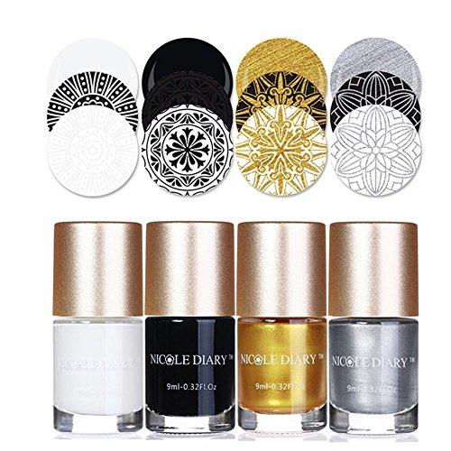 NICOLE DIARY 4 Stücke Nail art Stamping Lacers Klassische Farben Kreative Nagellack Sammlung Nagelplatte Lack für Weihnachtsferiengeschenke (Set 1)