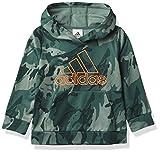 adidas Boys' Active Sport Athletic Pullover Hooded Sweatshirt, Core Camo Tech Emerald, 4