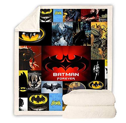 HBYMV Batman Manta Sherpa Impresa en 3D Sofá Funda de edredón Travel Youth Child Ropa de Cama Outlet Terciopelo Felpa Throw Fleece Colcha Sábanas cálidas y Suaves 200 * 150cm