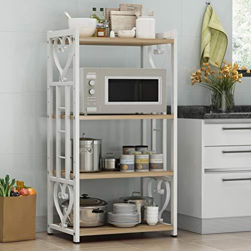 Kitchen furniture - Étagère multifonctions ajustable Simple grille à four à micro-ondes à 4 couches WXP (Couleur : White+yellow, taille : 60X40CM)