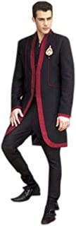 Srajan Modern Indo-Western Style Long Red Boarder Black Sherwani With Slim Fit Matching Churridar Trouser For Men