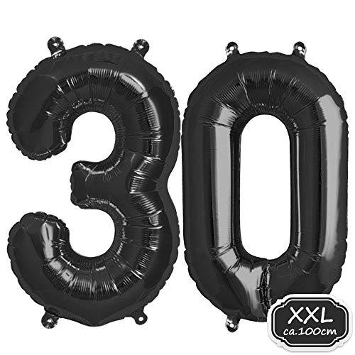 """Folienballon Zahl in Schwarz - XXL 40\""""/100cm Riesenzahl Ballon - Folienballons für Luft oder Helium als Geburtstag, Hochzeit , Jubiläum oder Abschluss Geschenk, Party Dekoration (Schwarz[ 30 ])"""