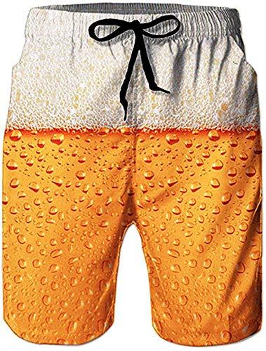 Rave on Friday Herren Shorts Bier 3D Druck Badehosen Sommer Strandshorts Badeshort Hawaii Kurze Hosen Surf Board Schwimmhosen mit Tasche L