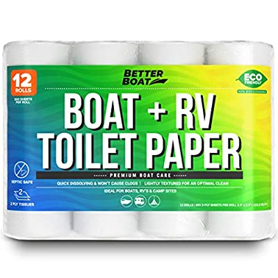 Boat and RV Toilet Paper Septic Safe Quick Dissolve for Marine and Camper Use Biodegradable and Tank Safe   Bulk 12 Pack by Better Boat
