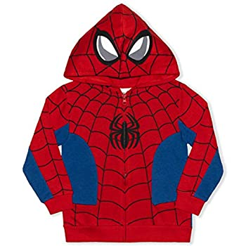 Marvel Boy s Spider-Man Full Zip Fashion Hoodie Red/ Blue Size 3T