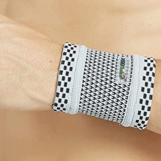 Neotech Care Wrist Band (1 Unit) - Bamboo Fiber Knitted Fabric - Light, Elastic & Breathable - Men, Women, Right or Left - for Sweat, Sports, Exercise, Workout, Gym - Grey Color (Size S)