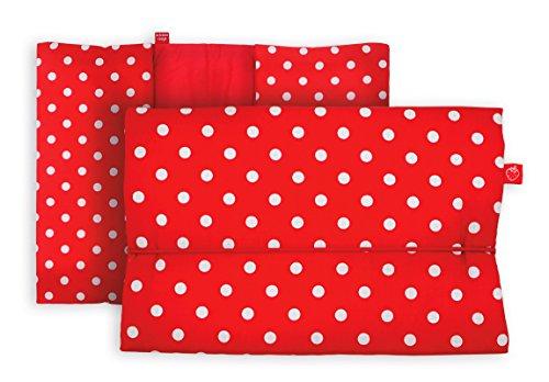 Windeltasche für unterwegs in rot mit weißen Punkten (bag in bag - Geburtsgeschenk Junge Mädchen)