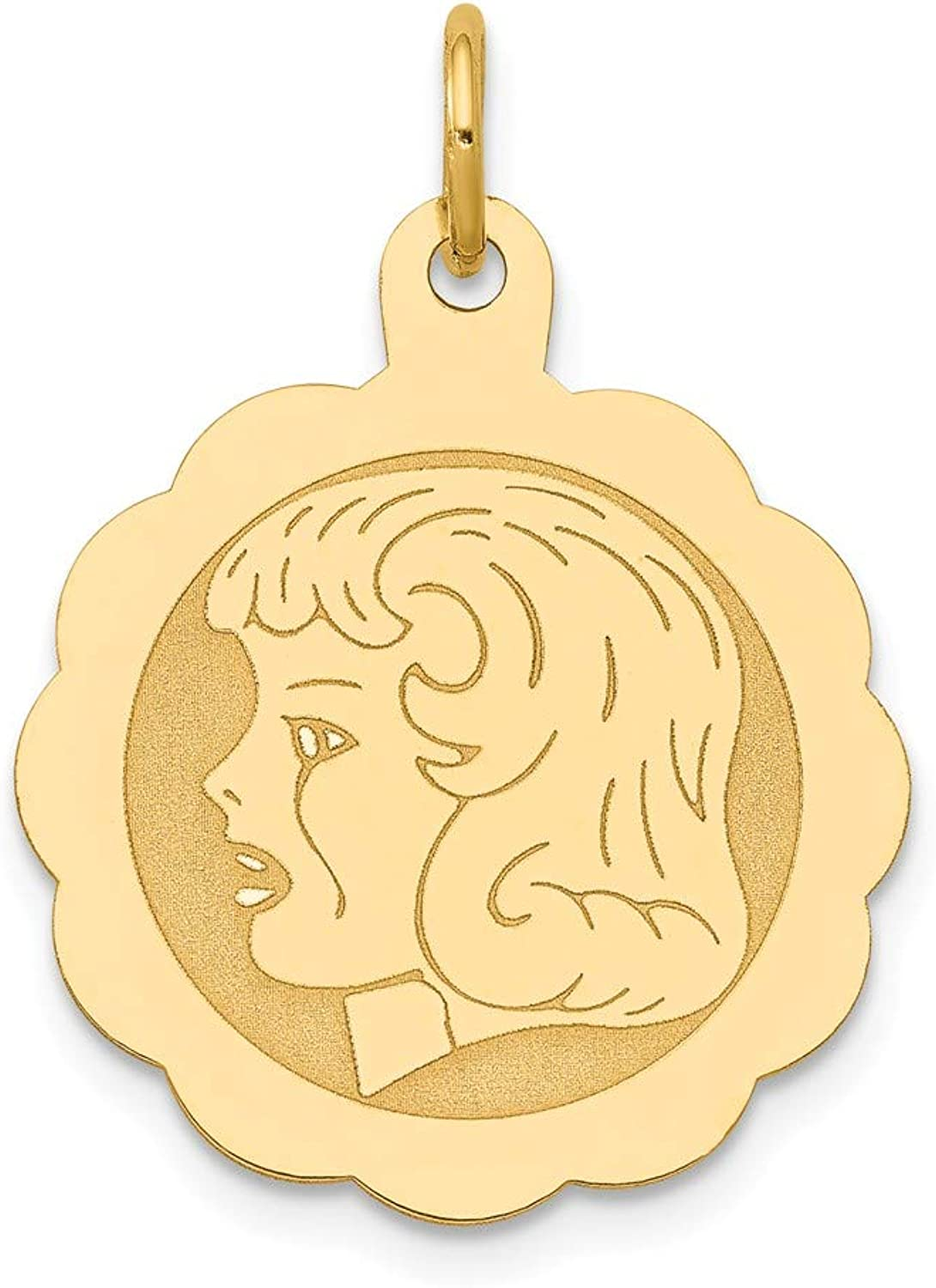 Beautiful Yellow gold 14K Yellowgold 14k Girl Head on .013 Gauge Engravable Scalloped Disc Charm