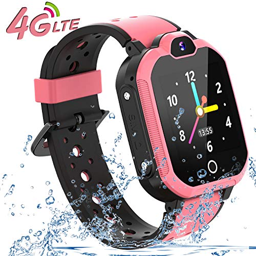 4G Smart Watch for Kids - WiFi GPS Tracker Kids Smartwatch Phone Waterproof Touch Screen Digital Wrist Watch with Call Voice Video Chat Pedometer Fitness Tracker Alarm Clock for Boys Girls (Pink)