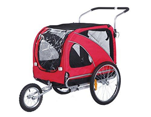 leonpets 2 en 1 mascotas transportswagen para Jogger/remolque de bicicleta 10202 (Rojo)
