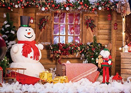 Fondo de fotografía de Navidad Muñeco de nieve Regalos de Santa Fondo Nochebuena Decoraciones para fiestas de vacaciones Accesorios para sesiones de fotos