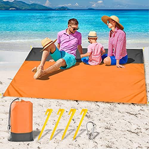 GeeRic Alfombras de Playa,210x200cm Esterilla Playa Manta Picnic Impermeable con 4 Clavos Fijos Gancho,Naranja