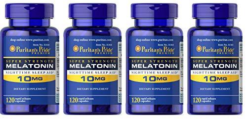 Puritan's Pride Super Strength Rapid Release Capsules, Melatonin, 10 mg (480 Count)