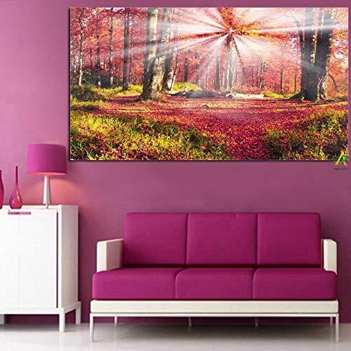 ganlanshu Rahmenlose Malerei Waldlichtung und Herbstsonnenlichtlandschaft HD Leinwand Moderne LeinwanddekorationCGQ7430 30X45cm