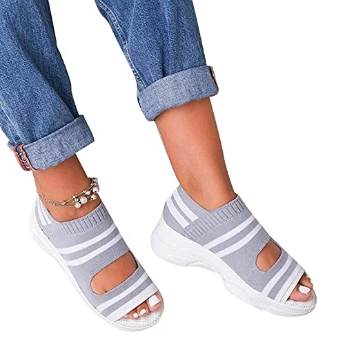 Dresscool Sandalen Sommer Damen Offene Schuhe Orthopädische Casual Open Toe Wedges Plattform Damen Elegante Flip Flops Freizeit Turnschuhe