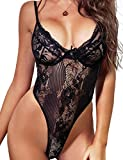 VEMO Lingerie for Women, Lace Teddy Bodysuit Bridal Lingerie One Piece Naughty Sleepwear (Black, M)