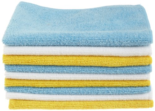 """Amazon Basics Blue, White, and Yellow Microfiber Cleaning Cloths 12""""x16""""- Pack of 144"""