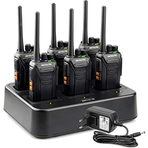 Retevis RT27 Funkgerät, PMR Funkgeräte set Lizenzfrei, Funkgeräte mit 6 fach Ladegerät, 16 Kanäle CTCSS/DCS VOX, Walkie Talkie für Baustelle, Sicherheitsdienst, Logistikunternehmen (6 Stück, Schwarz)