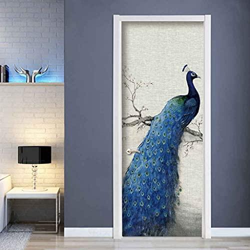 MZNVTD Pegatinas De Puerta 3D Mural Pavo Real Animal Azul Puerta Etiqueta De La Pared Sala De Estar Baño Cocina Niño Dormitorio Autoadhesiva Removable Impermeable Decoraciones Hogar 85x200cm