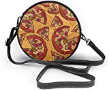 BAODANLA Bolso redondo mujer Pizza Pattern Women Soft Leather Round Shoulder Bag Zipper Circle Purses Sling Bag