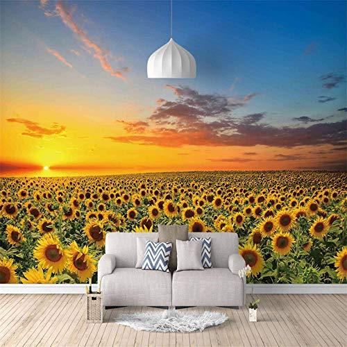 Fototapete Tapeten 3D 350X256Cm Sonnenblumenfeld Sonnenblume Tapete Fototapeten Xxl Tapeten Vliestapete Wandtapete Moderne Wandbild Wand Schlafzimmer Büro Flur