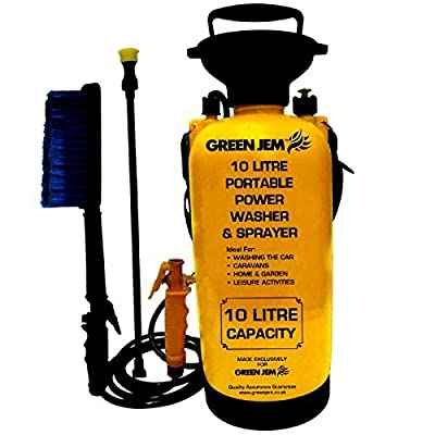 New 10 Litre Portable Pressure Washer Power Pump Car Jet Wash Brush Water Hose Lance Cleaner BR1000 by Green Jem