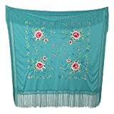 La Señorita Mantones bordados Flamenco Manton de Manila azul verde con flores de colores Cuadrado