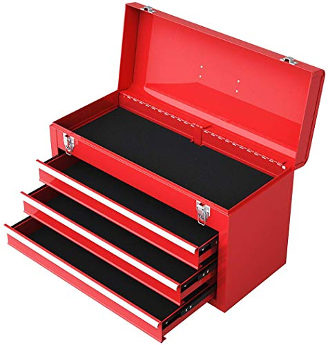 On Shine 20-Inch Tool Chest,3-Drawer Metal Portable With Top Tray