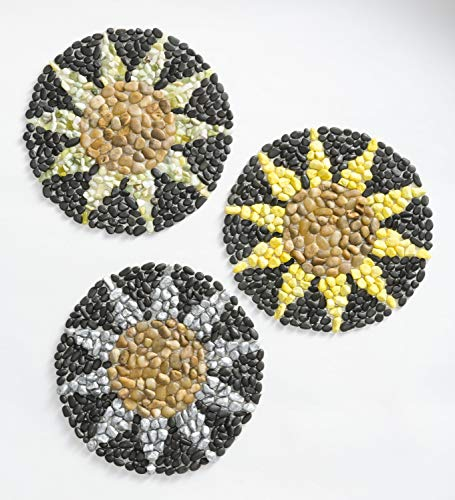 Plow & Hearth Weather-Safe Decorative Sunflower Design Colorful Rock Flexible Stepping Stones for Garden, Walkway, Path or Landscape, Set of 3, 12½' Dia.