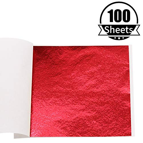 KINNO Imitation Gold Foil Sheets - Red Leaf Paper for Arts Decoration, Handcrafts, Picture Frames, Sculpture, Wall, Line, Furniture, Gilding, Nails, 100 Sheets 3.15 by 3.35 Inches