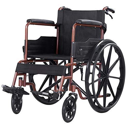 Tragbare Falten Rollstuhl, Senioren/Behinderte Roller Transport Rollstuhl Carbon Steel Handbremse mit Verschluss Abnehmbare Pedal Wankstützeinrichtung Rollstuhl-Scooter (Color : Brown)