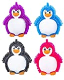 Curious Minds Busy Bags 4 Puffer Penguin Toys - Indoor Soft Hairy Air-Filled Sensory Toy Puffer Balls - Sensory Fidget and Stress Balls - OT Autism SPD