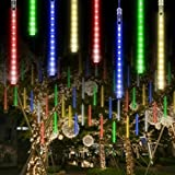 Joycabin Meteor Shower Rain Light, Waterproof Christmas Lights with 11.8inch 8 Tube 192 LEDs Icicle String Lights for Holiday Party Wedding Christmas Tree Decoration(Multicolor)