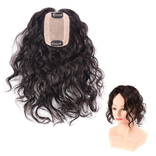 Womens Silk Base Real Human Hair Toppers Clip in Curly Topper Wiglet Hairpieces for Thinning Hair (8.7\