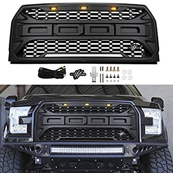 Motorium Front Grill Replacement for F150 2015-2017 Raptor Style Grille Including Crossbar & 3 Amber LED Lights  Matte Letters