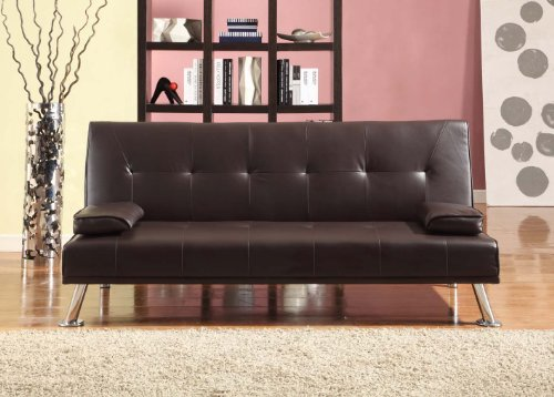 Comfy Living Large Stunning Italian Designer Faux Leather 3 Seater Sofa Bed Futon in CHOCOLATE BROWN