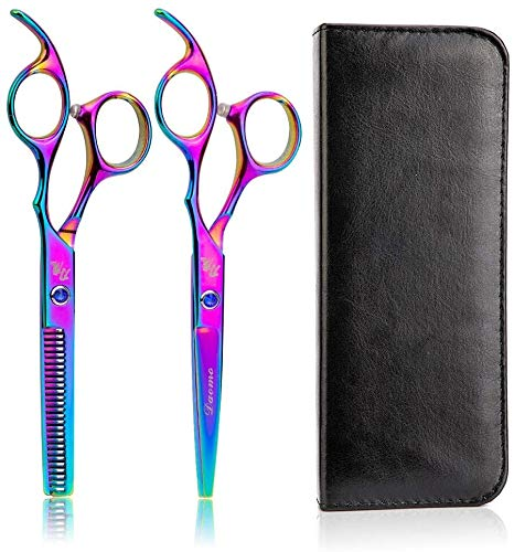 Détaillée 2pcs / set professionnel 6 pouces Sac coupe de cheveux ciseaux cuir en acier inoxydable Barber Salon Outils for effiler ciseaux de coiffure Barber (couleur, 2pcs ciseaux bleu), 2pcs rose et