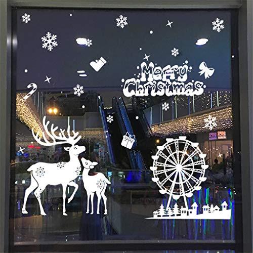 99native DIY Weihnachten Schneeflocken Fensterdeko Aufkleber Weihnachtsmann Fenster Display Aufkleber Kinderzimmer Wandaufkleber Dekoration Glasaufkleber Innenraum Fensterbilder Dekor (E)