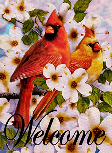 Dyrenson Cardinal Garden Flag Double Sided, Home Decorative Welcome Red Bird House Yard Flag, Summer Spring Floral Dogwood Pansies Lily Decoration, Flower Seasonal Outdoor Flag 12 x 18 Vertical Winter