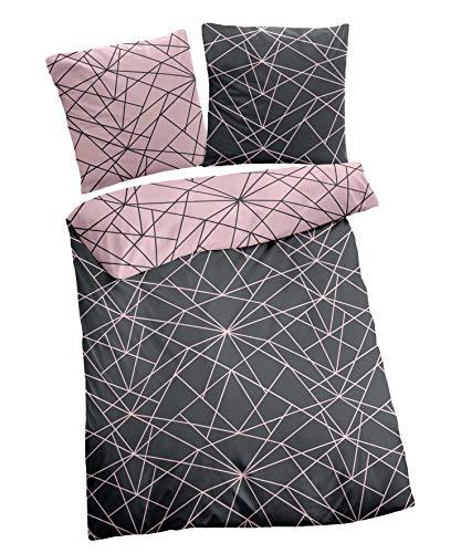 Dormisette Biber Bettwäsche 4tlg grau rosa 2294-93 | Bettwäsche-Set aus 100% Baumwolle | 4 teilige Wende-Bettwäsche 135x200 cm & Kissen 80x80 cm | Geometrisches Muster Linien