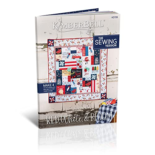 """Kimberbell Featured Quilt Red, White & Bloom Sewing Pattern Design Completed Size 40x40"""", 4 Different Projects: Tea Towel, Tote, Table Topper, Step-By-Step Instructions For Beginners to Advanced KD726"""