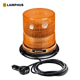 LAMPHUS Aura 7' 12W Amber LED Beacon Warning Strobe Light [SAE Class 1] [38 Flash Modes] [Magnet/Permeant] [High Dome] [Rooftop Mount] Flashing Emergency Beacon Light for Trucks Tow Vehicles