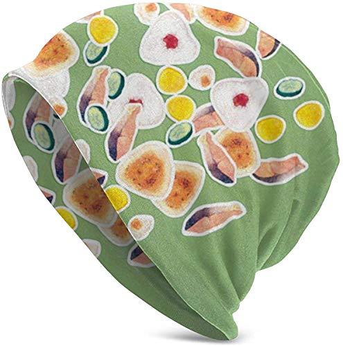 CVDGSAD Comida Japonesa Bolas de arroz Sombrero de Pescado de salmón Gorro de Cabeza de Turbante Skullies Sombrero para Hombres y Mujeres Sombrero de Punto Sombrero cálido de Invierno Negro