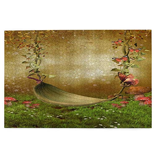 Jigsaw Puzzles 1000 Pieces,Leaf Hammock Flower Butterfly Green Meadow Mushroom Wild Floral Fantasy Scenery,Large Family Puzzle Game Artwork for Adults Teens