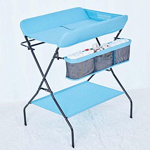 Ali@ Table à langer, Bureau de soins pour bébé, Multifonctions néonatale Pliable Touchez la table de massage, Le bébé organise la console. Charge de 25 kg, Gris, bleu, champagne (Couleur : Bleu)